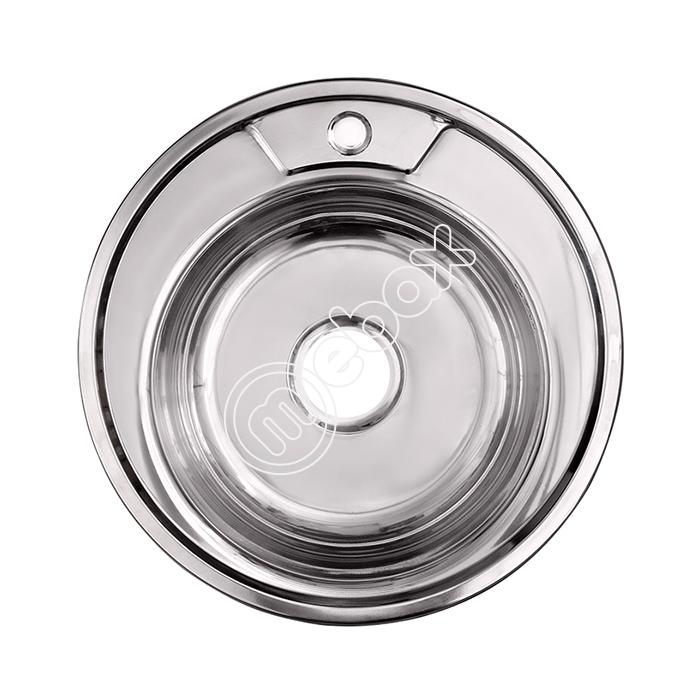 Круглая мойка диаметра 490 мм из нержавеющей стали - смотреть каталог на сайте mebax.ru